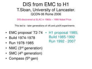 DIS from EMC to H1 T.Sloan, University of Lancaster. QCDN-06 Rome 2006