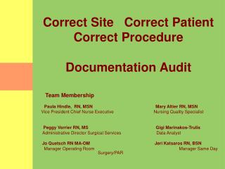Correct Site   Correct Patient  Correct Procedure  Documentation Audit