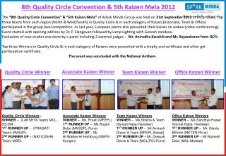 8th Quality Circle Convention & 5th Kaizen Mela 2012