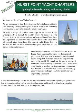 Tel: 01590 623765 Email: Info@hurstpointyachts.co.uk