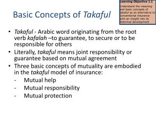 Basic Concepts of  Takaful