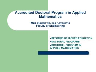 REFORMS OF HIGHER EDUCATION DOCTORAL PROGRAMS DOCTORAL PROGRAM IN    APPLIED MATHEMATICS