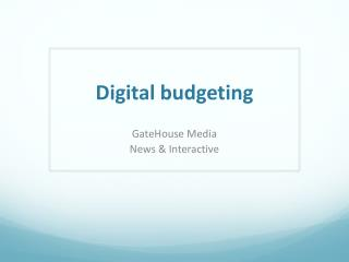Digital budgeting