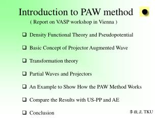 Introduction to PAW method