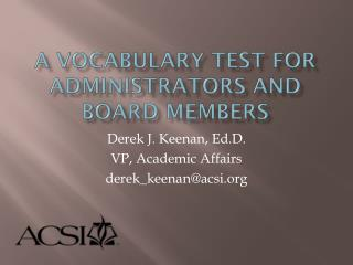 A Vocabulary Test for Administrators and Board Members