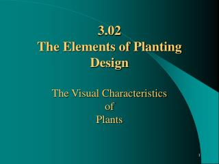3.02 The Elements of Planting Design  The Visual Characteristics  of  Plants