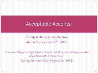 Acceptable Accents: