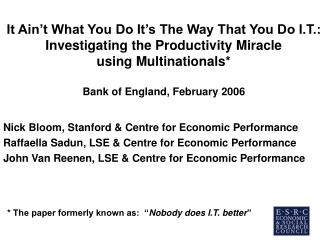 Nick Bloom, Stanford & Centre for Economic Performance