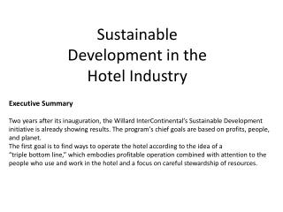 Sustainable Development in the Hotel Industry