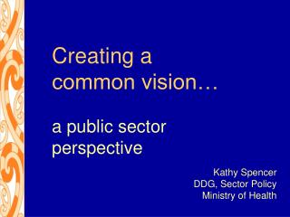Creating a common vision… a public sector perspective