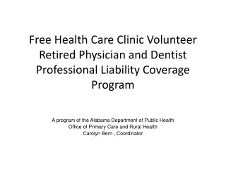 A program of the Alabama Department of Public Health Office of Primary Care and Rural Health