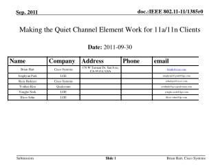Making the Quiet Channel Element Work for 11a/11n Clients