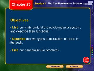 Section 1   The Cardiovascular System