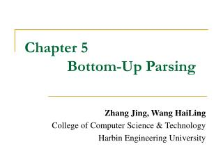 Chapter 5             Bottom-Up Parsing