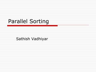 Parallel Sorting