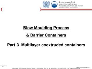 Blow Moulding Process  & Barrier Containers Part 3  Multilayer coextruded containers