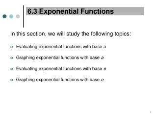 6.3 Exponential Functions