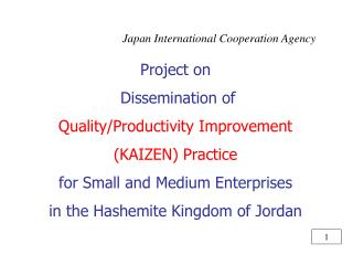 Project on  Dissemination of Quality/Productivity Improvement (KAIZEN) Practice for Small and Medium Enterprises in the