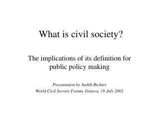 What is civil society?