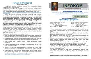 MINGGU EVANGELISASI 20 OKTOBER 2013