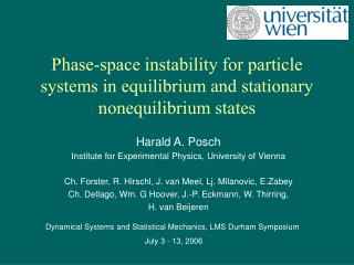 Phase-space instability for particle systems in equilibrium and stationary nonequilibrium states