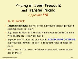 Pricing of Joint Products and Transfer Pricing Appendix 14B