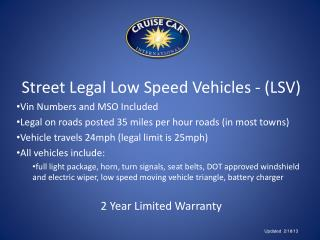 Street Legal Low Speed Vehicles - (LSV) Vin Numbers and MSO Included