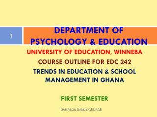 DEPARTMENT OF PSYCHOLOGY & EDUCATION