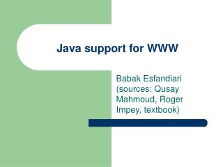 Java support for WWW