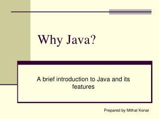 Why Java?