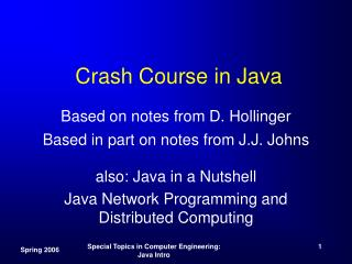 Crash Course in Java