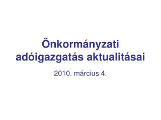 Önkormányzati adóigazgatás aktualitásai