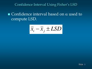 Confidence Interval Using Fisher's LSD