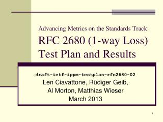 Advancing Metrics on the Standards Track:   RFC 2680 (1-way Loss)  Test Plan and Results