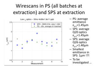 Wirescans  in PS (all batches at extraction) and SPS at extraction