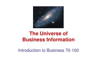 The Universe of Business Information