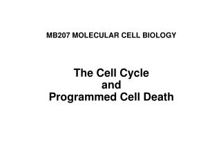 MB207 MOLECULAR CELL BIOLOGY The Cell Cycle and Programmed Cell Death