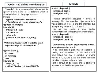 typedef – to define new datatype