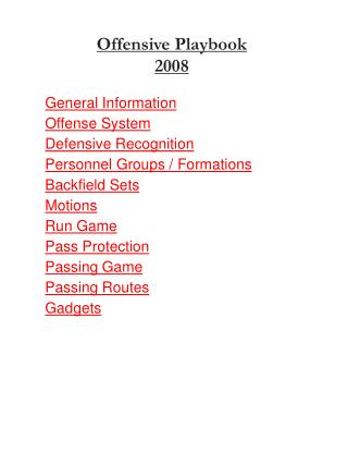 Offensive Playbook 2008