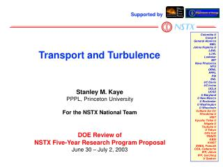Stanley M. Kaye PPPL, Princeton University For the NSTX National Team DOE Review of