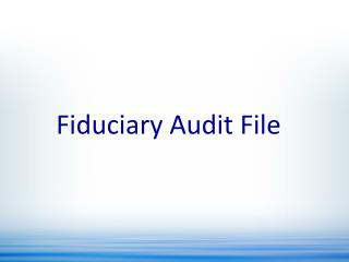Fiduciary Audit File