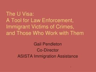 The U Visa: A Tool for Law Enforcement, Immigrant Victims of Crimes, and Those Who Work with Them