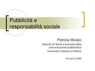 Pubblicità e responsabilità sociale