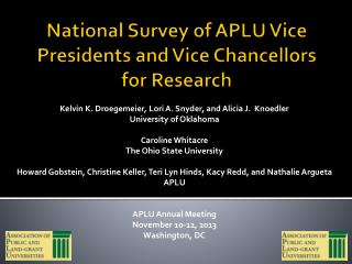 National Survey of APLU Vice Presidents and Vice Chancellors for Research