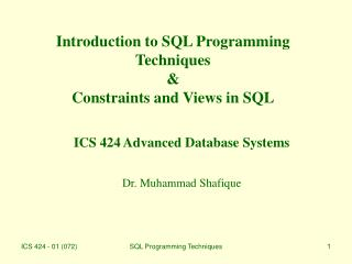 Introduction to SQL Programming Techniques & Constraints and Views in SQL