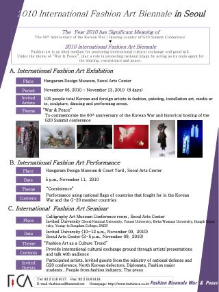 2 010 International Fashion Art Biennale in Seoul