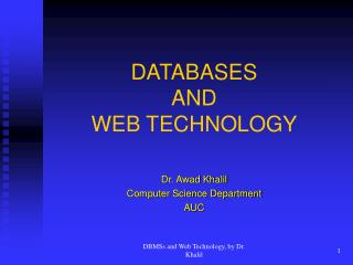 DATABASES  AND  WEB TECHNOLOGY