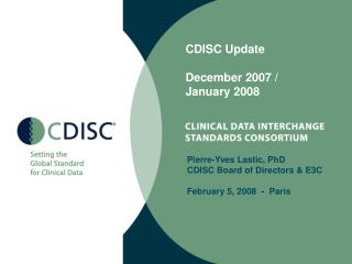 CDISC Update December 2007 /  January 2008