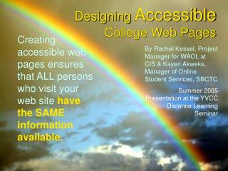 Designing Accessible College Web Pages