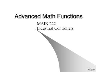 Advanced Math Functions